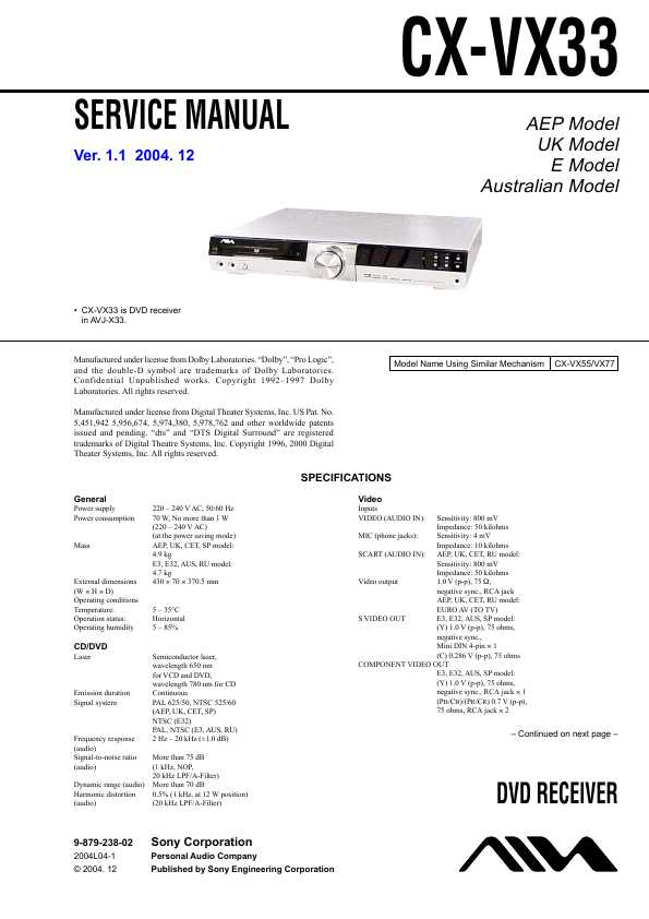 Aiwa cx-vx33 инструкция по применению
