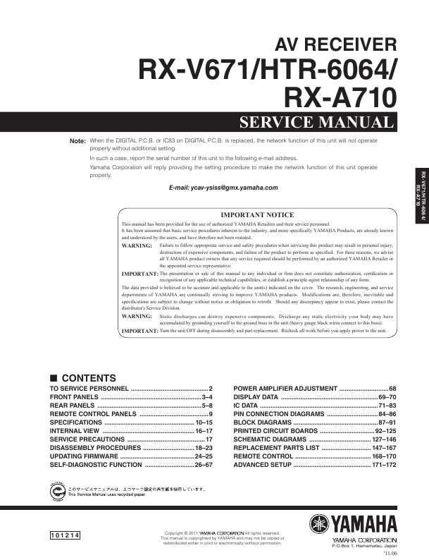 Сервисная инструкция yamaha htr-6064 ― manual-shop. Ru.